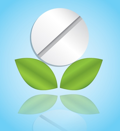 A pill with two leaves representing natural medicine Vector