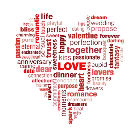 A typographic illustration of Valentines day and generally love. A concept with words that symbolise love shaped into a heart.The predominant colour is red and pink, colours of passion.Illustration is isolated on a white background.