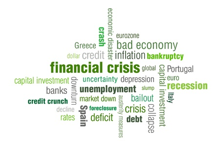 A typographic illustration of the financialeconomic crisis and the current state of the economy.