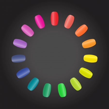 finger nails: An illustration with colourful nails in a circle forming a circular rainbow