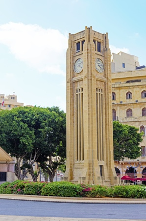 A view of the clock tower in Nejme Square in Beirut, Lebanon  A landmark of the beautiful and picturesque city centre in downtown Beirut