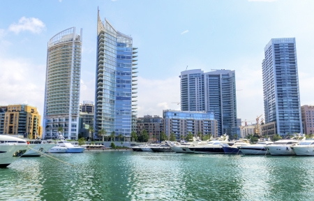 A view of the beautiful Marina in Zaitunay Bay in Beirut, Lebanon  A very modern, high end and newly developed area where yachts are embarked and it