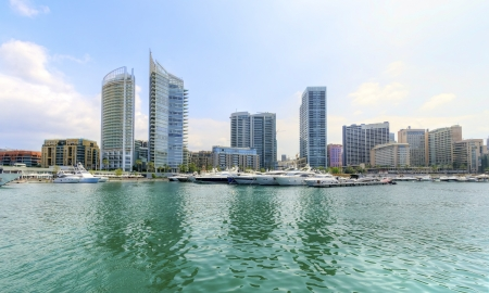 embark: A view of the beautiful Marina in Zaitunay Bay in Beirut, Lebanon  A very modern, high end and newly developed area where yachts are embarked and it
