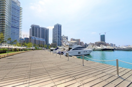 embarked: A view of the beautiful Marina in Zaitunay Bay in Beirut, Lebanon  A very modern, high end and newly developed area where yachts are embarked and it