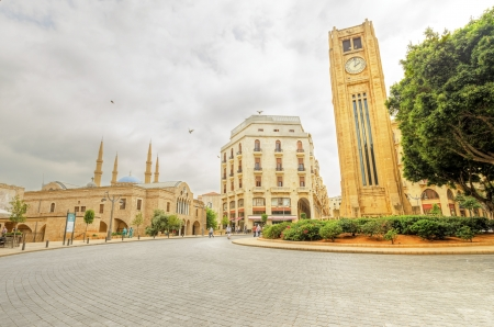 clock tower: A view of the clock tower in Nejme Square in Beirut, Lebanon