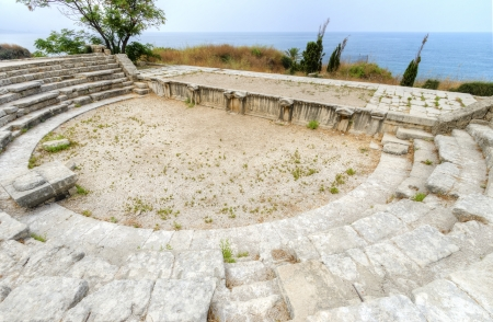 A view of the ancient Roman theatre situated in the historic city of Byblos in Lebanon overlooking the mediterranean sea, located at the crusaders castle site. photo