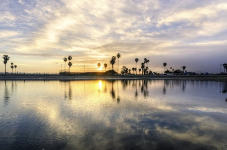 The sunrise over Sail bay in Mission Bay over the Pacific beach in San Diego, California  Stock Photo