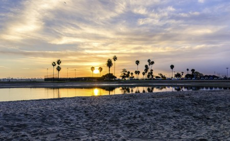 The sunrise over Sail bay in Mission Bay over the Pacific beach in San Diego, California in the United States of America. A view of the sandy beach, palm trees and beautiful saltwater bay at sunset. Banco de Imagens