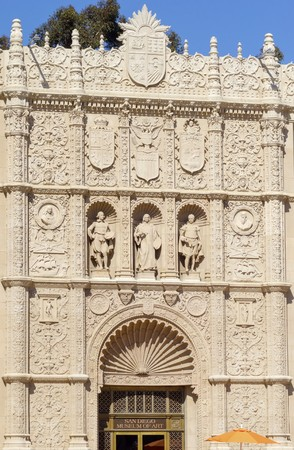 The facade of the San Diego museum of fine Art, in Balboa Park, California, United States of America. A plateresque architecture building with ornaments sculpted of painters and coats of arms. photo