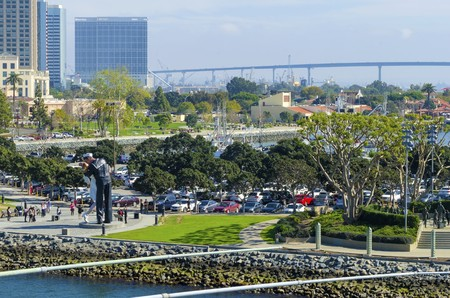 surrender: A view of the Unconditional surrender statue in Downtown San Diego marina in southern California in the United States of America