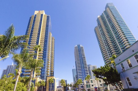broadway tower: A view of the Marina neighborhood in Downtown San Diego in southern California in the United States of America  Some of the local architecture, commercial buildings and blocks of flats in the centre city  Stock Photo
