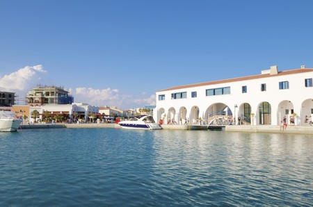 colonade: The beautiful Marina in Limassol city in Cyprus Stock Photo