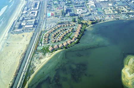 Aerial view of the Coronado island in the San Diego Bay, Southern California, United States of America photo
