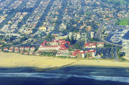 Aerial view of the Coronado island and in the San Diego Bay in Southern California, United States of America photo