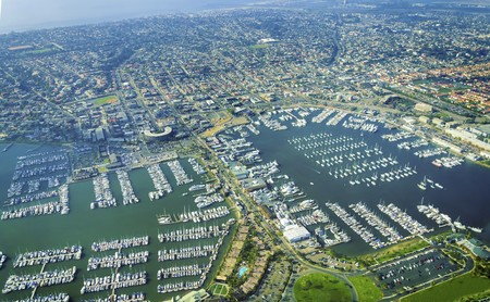 Aerial view of the Marina in Point Loma peninsula, San Diego, Southern California, United States of America