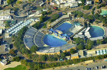 Aerial view of SeaWorld, a marine life theme park in San Diego Bay