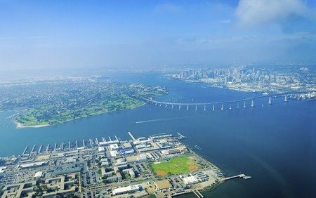 Aerial view of the Coronado island and bridge in the San Diego Bay  photo