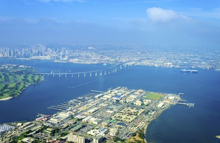 golf of california: Aerial view of the Coronado island and bridge in the San Diego Bay in Southern California