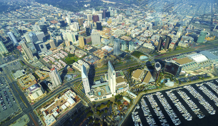 Aerial view of Downtown San Diego, Southern California