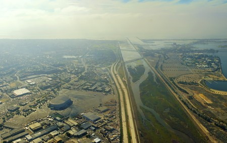 california delta: An aerial view of San Diego River leading to the pacific ocean in southen California