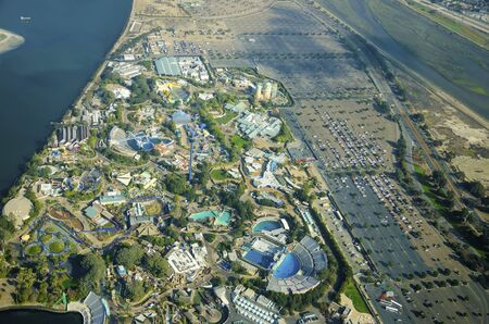 Aerial view of SeaWorld, a marine life theme park in San Diego Bay  photo