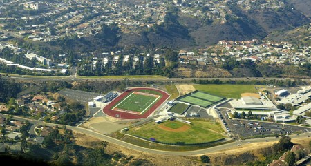 An aerial view of the Clairemont neighborhood in Bay Park, San Diego, southern California, United States of America. A view of the high school football court and softball field.