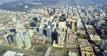 Aerial view of Downtown San Diego, Southern California, United States of America. A view of the skyline, waterfront skyscrapers, tall towers and buildings in the city center. Editorial