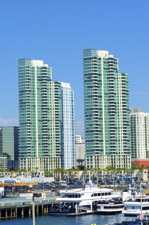 A view of the Marina neighborhood in Downtown San Diego in southern California in the United States of America. Some of the local architecture, commercial buildings and blocks of flats in the centre city. Editorial