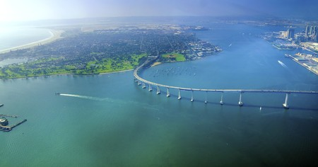 golf of california: Aerial view of the Coronado island and bridge in the San Diego Bay in Southern California, United States of America. Stock Photo