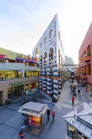 postmodern: The Westfield Horton Plaza outdoor shopping mall in the Gaslamp Quarter in San Diego, southern California, United States of America. A view of the inner court inside the mall.