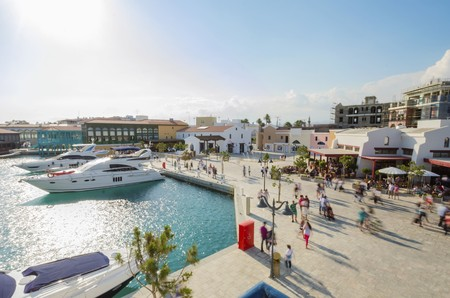 The beautiful Marina in Limassol city in Cyprus. A very modern, high end and newly developed area where yachts are moored and its perfect for a waterfront promenade. A view of the commercial area.