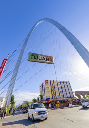 The Millennial Arch (Arco y Reloj Monumental), a metallic steel arch at the entrance of the city of Tijuana in Mexico, at zona centro a symbol of union and vigor to the new millennium and a landmark that welcomes tourists in Avenida de revolucion with a s Editorial