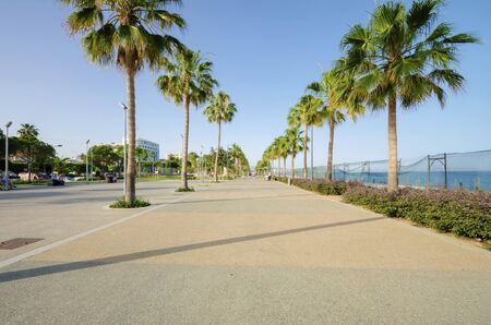 A view of Molos Promenade on the coast of Limassol city in Cyprus. A view of the walk path surrounded by palm trees, plaza, grass and the Mediterranean sea.