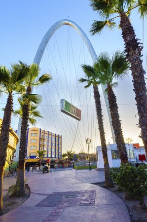 The Millennial Arch (Arco y Reloj Monumental), a metallic steel arch at the entrance of the city of Tijuana in Mexico