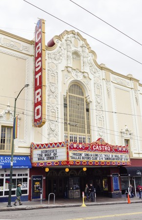 The Castro theater in San Francisco, California, United States of America, a historic landmark and one screen cinema. An ornate spanish colonial baroque building with neon lights in the lgbt community. Stock Photo - 30128566
