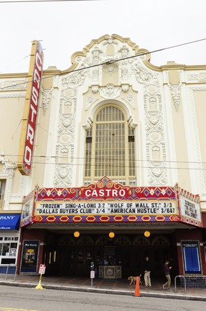 sexual orientation: The Castro theater in San Francisco, California, United States of America, a historic landmark and one screen cinema. An ornate spanish colonial baroque building with neon lights in the lgbt community.