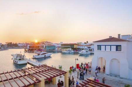 colonade: The beautiful Marina in Limassol city in Cyprus.  Stock Photo