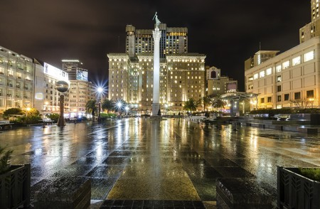 A night view of the Union Square in downtown San Francisco, California, United States.