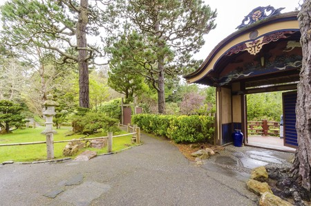moon gate: The Japanese Tea Garden in Golden Gate Park in San Francisco, California, United States of America.