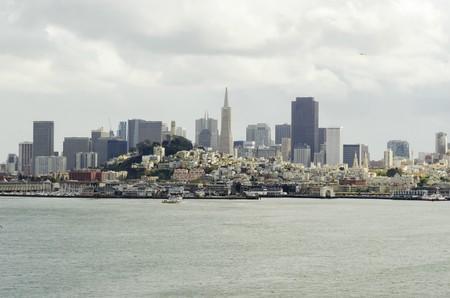 The San Francisco skyline in California, United states of America from Alcatraz island. photo