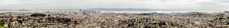 Aerial panoramic view of downtown San Francisco city skyline, California, United States of America. A view of the coast line, cityscape, skyscrapers, architecture Alcatraz island and bay from Twin Peaks.