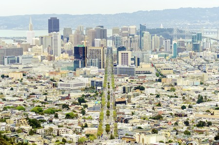Aerial view of downtown San Francisco city skyline, California, United States of America.
