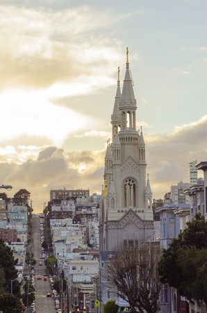 The Saints Peter and Paul Church spire towers in the Italian area of San Francisco, California, United States of America. A Roman Catholic cathedral in the North Beach neighborhood.