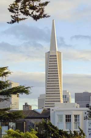 transamerica: The Transamerica Pyramid in San Francisco, California, United States of America. The tallest skyscraper in the city skyline, situated in downtown financial district on Montgomery street housing commercial offices.