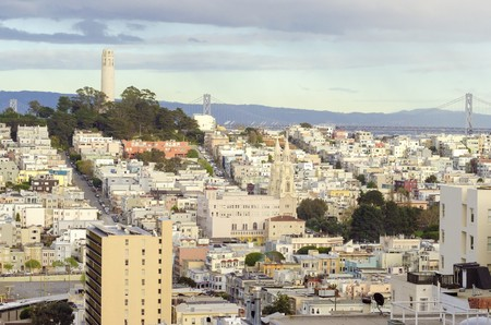 coit tower: Coit Tower, aka the Lillian Coit Memorial Tower on Telegraph Hill neighborhood of San Francisco, California, United States of America. Stock Photo