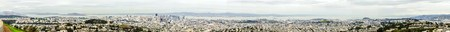 Aerial panoramic view of downtown San Francisco city skyline, California, United States of America. A view of the coast line, cityscape, skyscrapers, architecture Alcatraz island and bay from Twin Peaks. photo