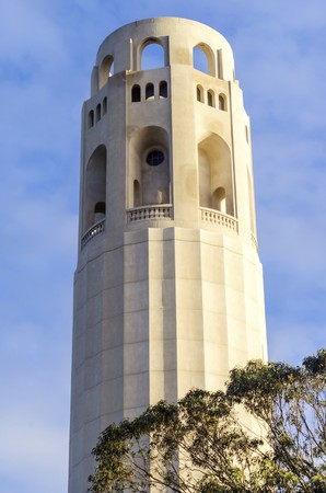 coit: Coit Tower, aka the Lillian Coit Memorial Tower on Telegraph Hill neighborhood of San Francisco, California, United States of America. Stock Photo