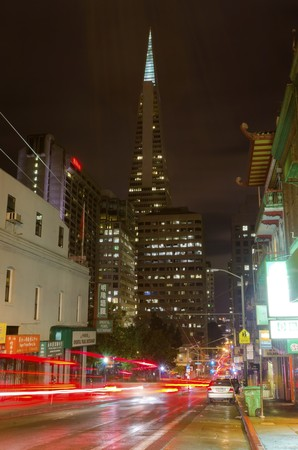 Night view of San Francisco Chinatown in northern California, United States of America.