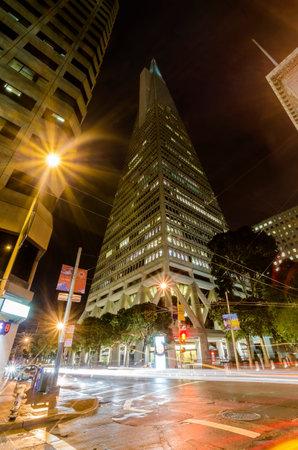 transamerica: Night view of Transamerica Pyramid in San Francisco, California, United States of America.  Editorial