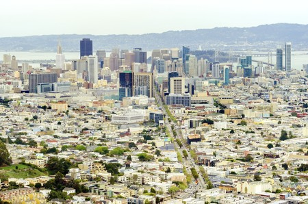 Aerial view of downtown San Francisco city skyline, California, United States of America.  photo